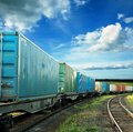 Freight cars on a railroad Stock Photography