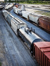 Freight cars on railway tracks Stock Photography