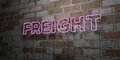 FREIGHT - Glowing Neon Sign on stonework wall - 3D rendered royalty free stock illustration Royalty Free Stock Photo