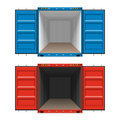 Freight shipping open cargo containers on white Royalty Free Stock Photo
