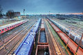 Freight station with trains cargo transportation Royalty Free Stock Photography