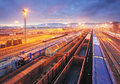 Freight station with trains cargo transportation Stock Image