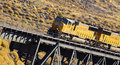 Freight Train on Bridge Royalty Free Stock Photo