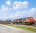 Freight train in canadian rockies jasper alberta Stock Images