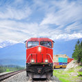 Freight train in canadian rockies moves from jasper Stock Images
