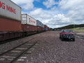 Freight train with containers Stock Photo