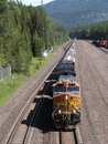 Freight train crossing the mountains Stock Image