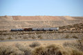 Freight train in the desert Royalty Free Stock Photo