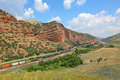 Freight train in echo canyon landscape utah Royalty Free Stock Photo