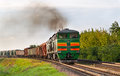 Freight train hauled by diesel locomotive Stock Photo