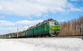 Freight train hauled electric locomotive ukrainian railways Stock Images