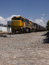 Freight train hauling coal wagons Royalty Free Stock Photos