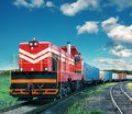 Freight train moving on railroad Royalty Free Stock Photo