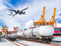 Freight train for oil and fuel transport and cargo plane Royalty Free Stock Photo