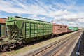 Freight train russia summer day Royalty Free Stock Image