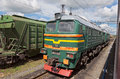 Freight train russia summer day Royalty Free Stock Images