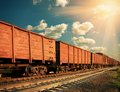 Freight train sunny railroad Royalty Free Stock Photos