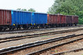 Freight train wagons tracks Royalty Free Stock Images
