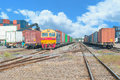 Freight trains on cargo terminal at dock Royalty Free Stock Photo