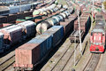 Freight trains industrial view with lot of railway waggons Stock Photo