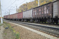 Freight transport cars on the railroad Royalty Free Stock Photo