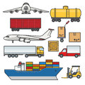 Freight transport icons set. Cargo and delivery, logistics flat outline elements. Freighter ship, truck, lorry, car Royalty Free Stock Photo