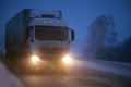 Freight transportation by truck winter Stock Image