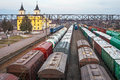 Freight wagons at the station. Rail transportation. Freight. Royalty Free Stock Photo