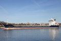 Freighter on kiel canal germany Royalty Free Stock Image