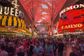 Fremont street experience excitement in las vegas usa may huge crowds of tourists gather under the world s largest video screen to Stock Photos