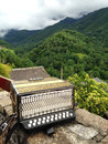 French accordion with pyrenees mountains background Stock Image