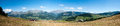 French alps panorama wide of colorful landscape with mountains and sky Royalty Free Stock Photo