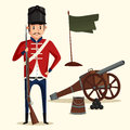 French army soldier with musket near cannon Royalty Free Stock Photo
