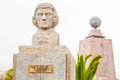 French astronomer hugot statue of equator monument in the background quito ecuador Royalty Free Stock Photography