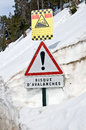 French avalanche danger sign Royalty Free Stock Photo