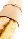 French baguette bread on white background macro Stock Photography