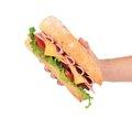 French baguette sandwich in hand. Royalty Free Stock Photo