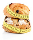 French bakery products with measuring tape Royalty Free Stock Photo