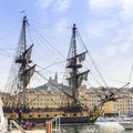 French battle ship, l`Hermione. In the old harbor of Marseille, France Royalty Free Stock Photo