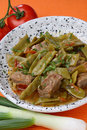 French beans salad with meat Stock Image