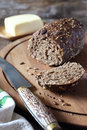 French black bread and butter Royalty Free Stock Photo