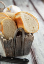 French bread baguette in wooden basket Stock Photos