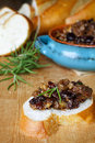 French bread with fig tapenade prepared figs kalamata olives and fresh herbs Stock Photography