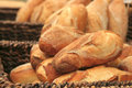 French bread heap on open market Royalty Free Stock Photo