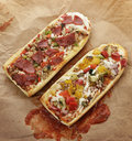 French bread pizza with grilled vegetables and pepperoni Stock Image