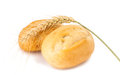 French bread rolls isolated on white background Royalty Free Stock Images