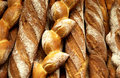 French breads in a bakery Royalty Free Stock Photo