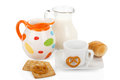 French breakfast (coffee, milk, croissant) isolated on white Royalty Free Stock Photo