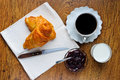 French breakfast with croissant marmalade milk and coffee Stock Photography