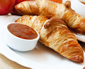 French breakfast with croissants fresh and apricot jam Stock Photo